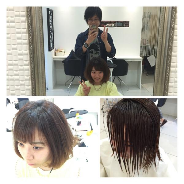 前髪をバッサリ【シースルーバングに♫】きょうかちゃんの髪。