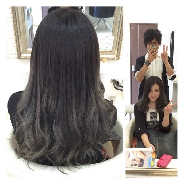究極すぎる【アッシュグレーのグラデーションカラー】の存在感がやばい!!【まりなさん】の髪。