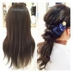 上品なナチュラルアッシュグレーの艶カラーとヘアアクセの可愛いポニテアレンジ♫【ともこさん】の髪。