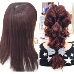 【上質な艶感】ピンクパープルグレージュと流行りの簡単【くるりんロールアレンジ】せりちゃんの髪。