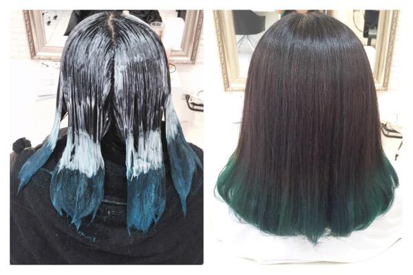 毛先にグリーンのグレーグラデーションカラー ななちゃん の髪
