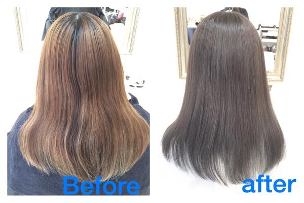 【大阪で外国人風カラー】究極のアッシュグレーはブルーアッシュまで深く【ななえさん】の髪。