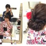 浴衣に似合うルーズシニヨンセットで乱れ可愛く【さやかさん】の髪。