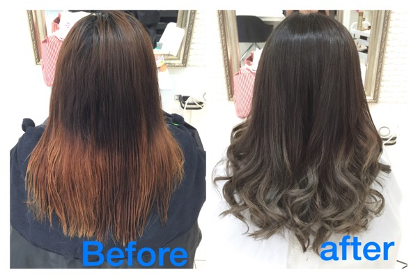 濃いめアッシュグレーのグラデーションカラーが綺麗すぎる|【さやかさん】の髪。