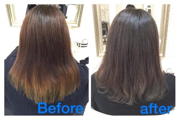 インナーカラーを応用したアッシュグレーのグラデーションカラーで柔らかく魅せる 初めてご来店【みきさん】の髪。