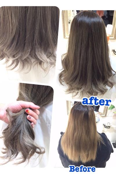 毛先を白っぽくしたい人はこのプロセスでカラーをしていくこと!【ちかちゃん】の髪