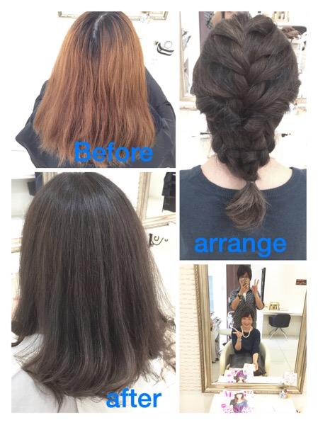 アッシュグレーがを綺麗に染めたい方。三重県から初めてのご来店【りょうこさん】の髪。