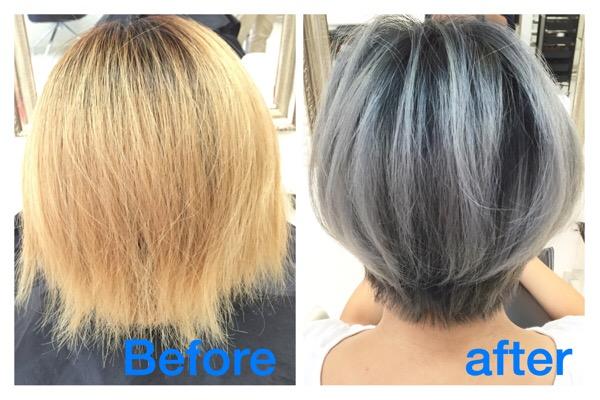 これは最強!髪を白くしたい方必見の外国人風シルバーグレーの神カラー【すずなちゃん】の髪。