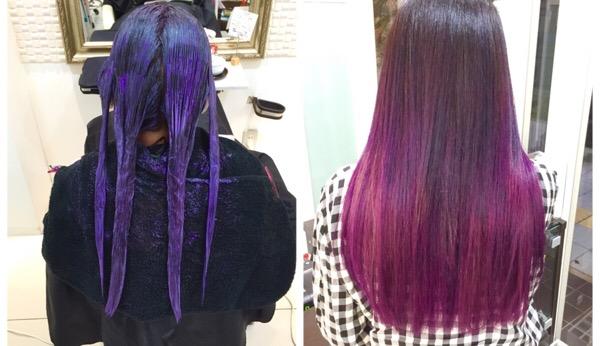 極みパープルのグラデーションカラー|アーティスト【チアキコハラさん】の髪。