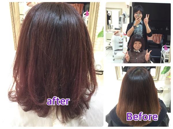 【ボルドー系カラー】積み重ねるごとにパープルが綺麗に染まる【やすこさん】の髪。