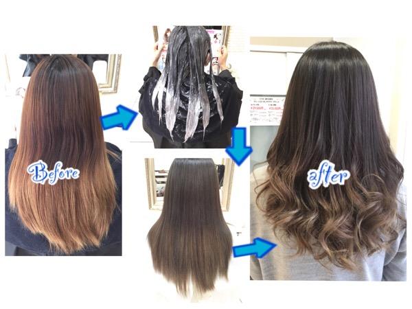 毛先が白っぽく見える究極のアッシュグレーのグラデーションカラー【さやかさん】の髪