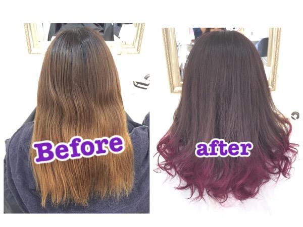 カラーバターを使った毛先濃いめピンクのグラデーションカラー【あすかさん】の髪