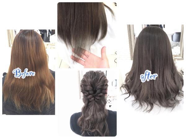 外国人風ブルーアッシュが綺麗すぎて今にも触りたくなる柔らか艶髪【ななえさん】の髪