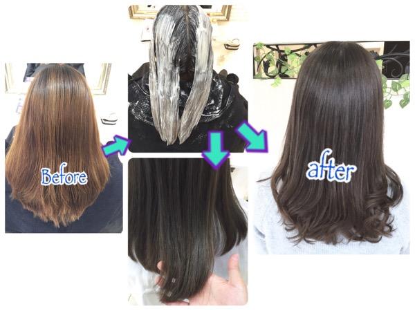 髪の毛に艶が出る外国人風ブルージュの染め方はナチュラルグラデーション【ゆきえさん】の髪