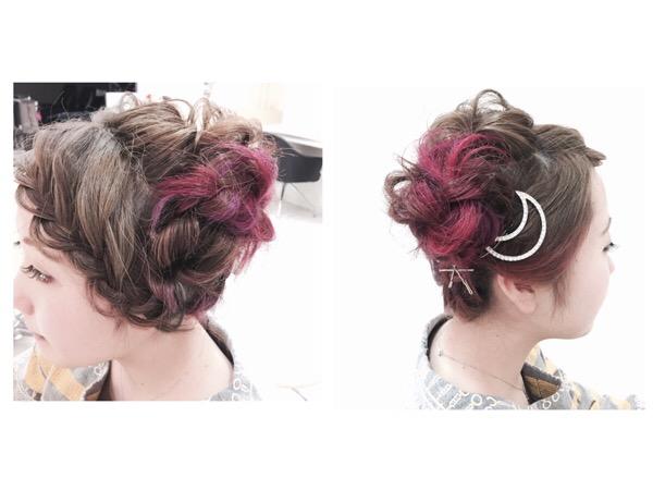 ポニーテール風お洒落カジュアル編み編みアップスタイル【くみかさん】の髪