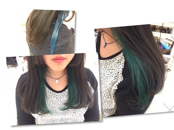 グリーンのインナーカラーがとてもお洒落に!ポイントで入れると可愛いですよ!【はりんさん】の髪