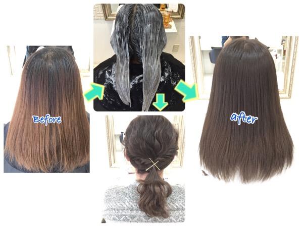 あまり暗くしすぎない外国人風カラーのアッシュグレーはこれだ!【うららちゃん】の髪