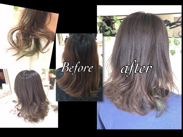 ブリーチサプリメントを使ってダメージレスなアッシュグレーのナチュラルグラデーションカラー【ちかさん】の髪