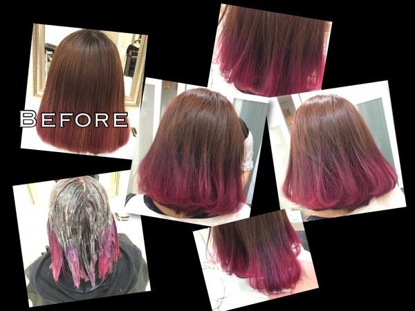 カラーバターを使ったピンクパープルのデザインカラーがお洒落【なみちゃん】の髪
