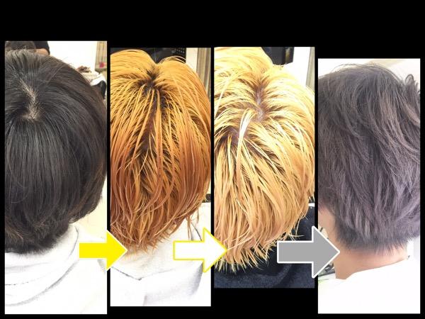 ブリーチ2回のシルバーアッシュグレーは合計3回染めで再現できます!【しゅうと君】の髪