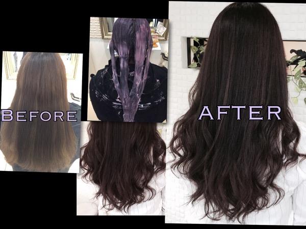 パープルアッシュグレーが違った透明感を表現します【はるなさん】の髪
