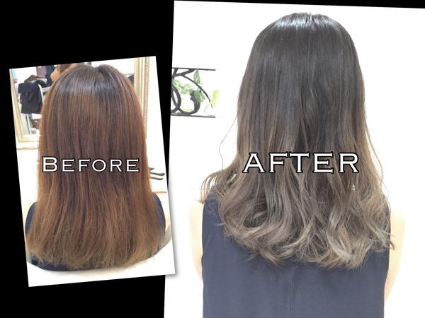 大阪 毛先が白っぽく見えるアッシュグレーのグラデーションカラー【ともみさん】の髪