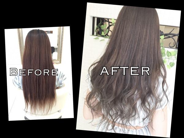 ブリーチサプリメントを使って毛先を白っぽくするグラデーションカラー【なつみさん】の髪