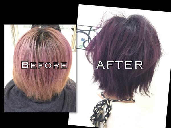 純粋なパープルをカラー剤で染めた!【あやなさん】の髪