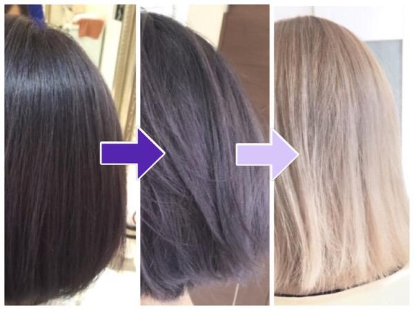 ブリーチ毛が色落ちしたら白くなっていくヘアカラーの染め方講座@大阪