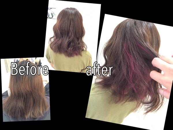 ピンクのインナーカラーがさり気なく可愛い外国人風カラー【りなさん】の髪