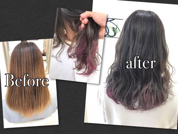 ピンクのインナーカラー×ミルクティーアッシュグレーが可愛すぎた!【あやのさん】の髪
