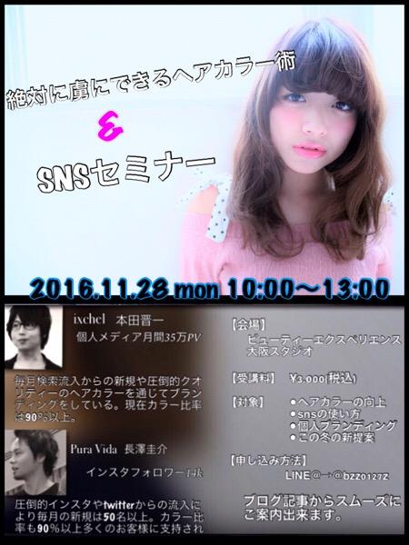 11月28日(月)絶対に虜になるヘアカラー&個人ブランディングセミナー開催!in大阪