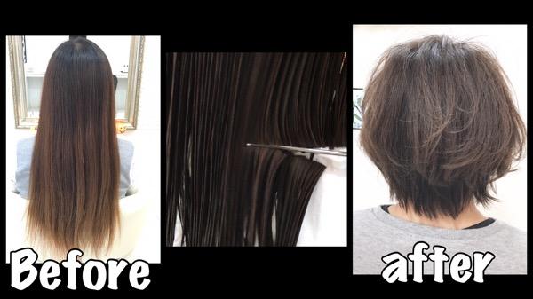 バッサリカットが多いこの時期イメチェンと外国人風カラー【ゆかちゃん】の髪