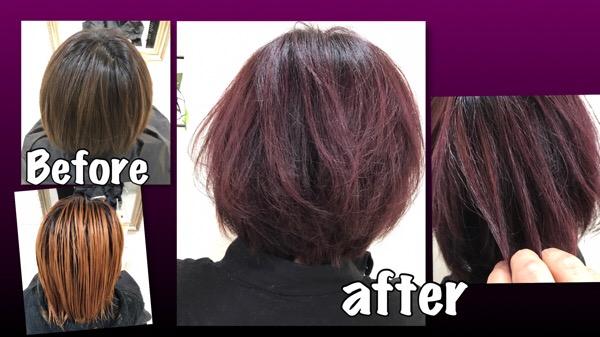 濃いめな鮮やかなボルドー(レッドパープル)が決まるダブルカラー【あやなさん】の髪