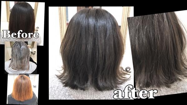 黒染めからのブリーチオンカラーで外国人風アッシュグレーを成功させる秘訣【ゆかさん】の髪