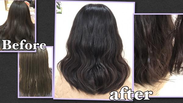 黒髪からのバイオレットアッシュグレーのダブルカラー【あやのさん】の髪