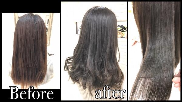 積み重ねる柔らかアッシュグレーのナチュラルグラデーションカラー【ともみさん】の髪