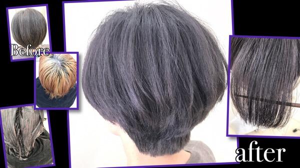 白髪が多いのでシルバーカラーにしたら目立ちにくくなるんじゃない?とお問い合わせからのご来店【みえさん】の髪