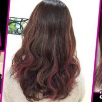 大阪でピンクのハイライト×#ベリーピンクの組み合わせが可愛すぎるお洒落カラー【さやかさん】の髪