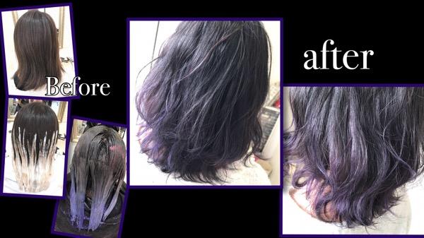 アッシュグレーからの濃いめパープルグレーのグラデーションカラー【ねねさん】の髪
