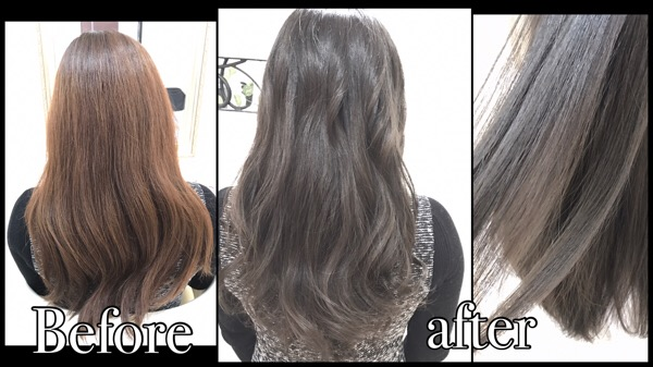 赤味抹殺一回染めで再現するモノトーンアッシュグレーのナチュラルグラデーションカラー【ひさこさん】の髪