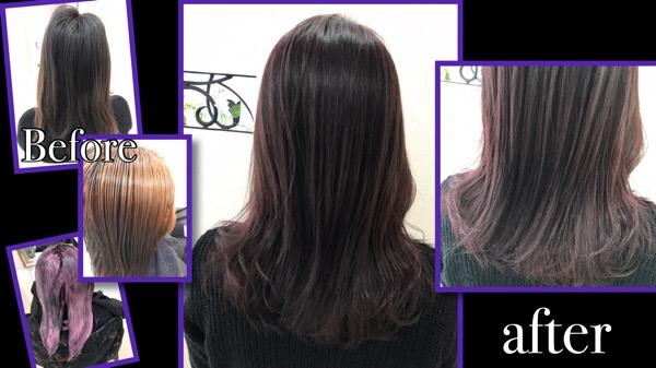 黒髪からのブリーチオンカラーでバイオレットカラー【まおさん】の髪