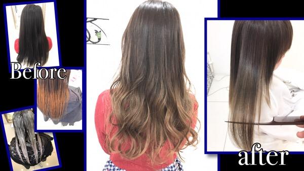 綺麗な金髪のグラデーションカラーはまさに外国人風カラー【みおさん】の髪