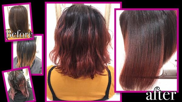 濃厚ピンクローズのグラデーションカラーがお洒落【ゆかさん】の髪