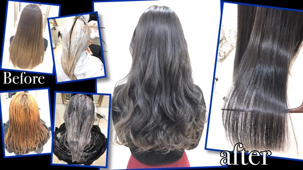 大阪で段階的にブリーチを積み重ねてシルバーカラーにしていくプロセス【ゆきのさん】の髪