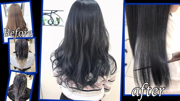 大阪でブリーチ毛からのトーンダウンで濃厚ブルーアッシュグレーに。【まゆさん】の髪