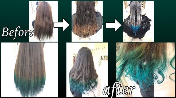 グリーンのグラデーションカラーが超絶可愛過ぎた外国人風カラー【ちづるさん】の髪
