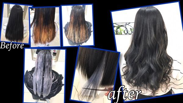 毛先にかけて白くするブリーチ2回のグラデーションカラー【ゆきさん】の髪