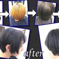 初めて染める黒髪からの圧倒的にグレーアッシュにする為のトリプルカラー【みえさん】の髪