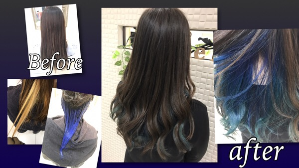 ブルーのインナーカラーと透明感のあるモノトーンブルーアッシュがお洒落【ちひろさん】の髪